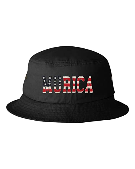 b390ddcf4d571 Go All Out One Size Black Adult Murica American Flag Embroidered Bucket Cap  Dad Hat