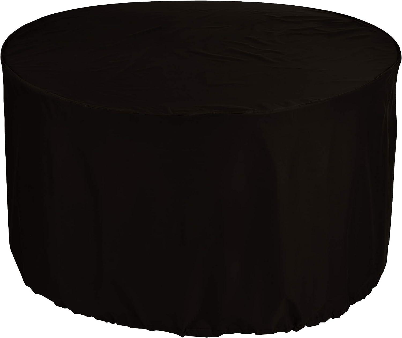 KaufPirat Housse de Protection pour Table Ronde /Ø 220x90 cm Couverture de Table de Jardin Housse protectrice pour mobilier de Jardin en Polyester Oxford Noir