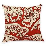 Pgojuni Cotton Linen Square Home Decorative Throw Pillow Case Sofa Waist Cushion Cover Sofa/Couch 1pc 45X45 cm (H)
