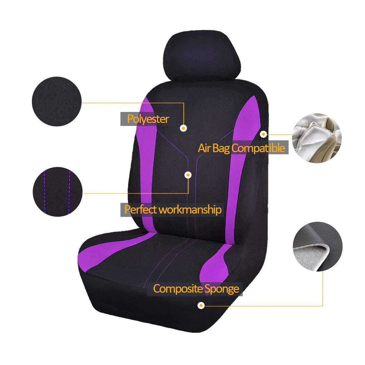 Viola Flying banner 11 pezzi moda maglia universale Fit progettato set coprisedili per auto