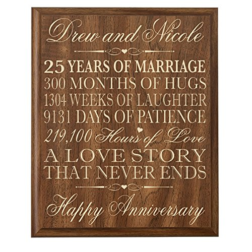 Personalized 25th Wedding Anniversary Wall Plaque Gifts for Couple, Custom Made 25th Anniversary Gifts for Her,25th Wedding Anniversary Gifts for Him Wall Plaque By LifeSong Milestones (Walnut)