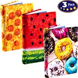 Jumbo, Stretchable Book Cover Food Design 3 Pack. Fits Most Hardcover Textbooks up to 9 x 11. Adhesive-Free, Nylon Fabric Protectors are A Needed School Supply for Students. Washable and Reusable.