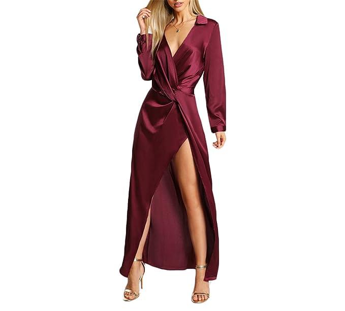 aafac0a4db813 Prettyever Elegant Sexy Party Dress Satin Front Twist Wrap Dress ...