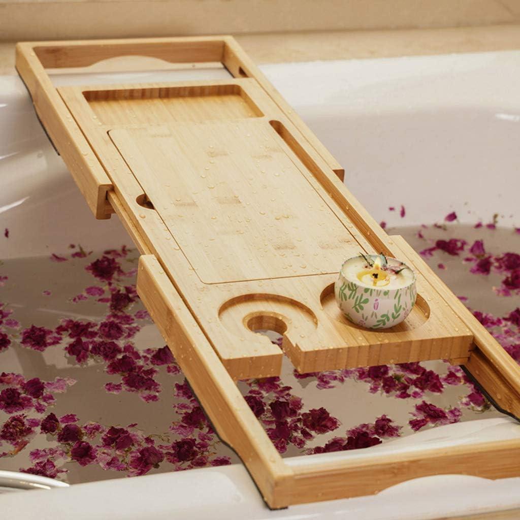 rutschfeste Bambus Badewanne Tablett Ablagen Weinglashalter Mit B/ücherablage Handy Steckplatz QVIVI Einstellbare Ausziehbar Badewannenablage Tablet