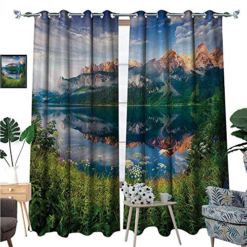(Mountain Waterproof Window Curtain Sunny Summer Morning on Lake Austrian Alps Crystal Mirroring Water Fairy Season Blackout Draperies for Bedroom W120 x L84 Multicolor)