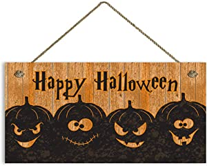 "Pumpkin Sign Wood Sign Wall Art Poster Home Decor,Happy Halloween Sign, Rustic Spooky Pumpkin Halloween Sign, Halloween Party Decor,6"" x 12"" Sign(Z4069)"