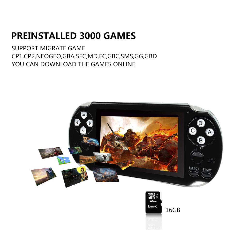 BAORUITENG Handheld Game Console , Retro Game Console with 3000 Classic Games 4.3'' 64 Bit Portable Game Console Support / Camera GBA / GBC / SEGA / NES / SFC / NEOGEO and Loss-Less Music(Black) by BAORUITENG (Image #3)