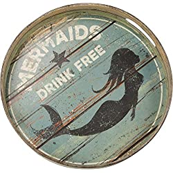 "Primitives by Kathy Round Distressed Decorative Tray, 12.5"", Mermaids Drink Free"
