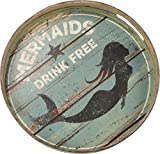 Primitives by Kathy Beach Mermaids Drink Free Decorative Tray, 12.5''