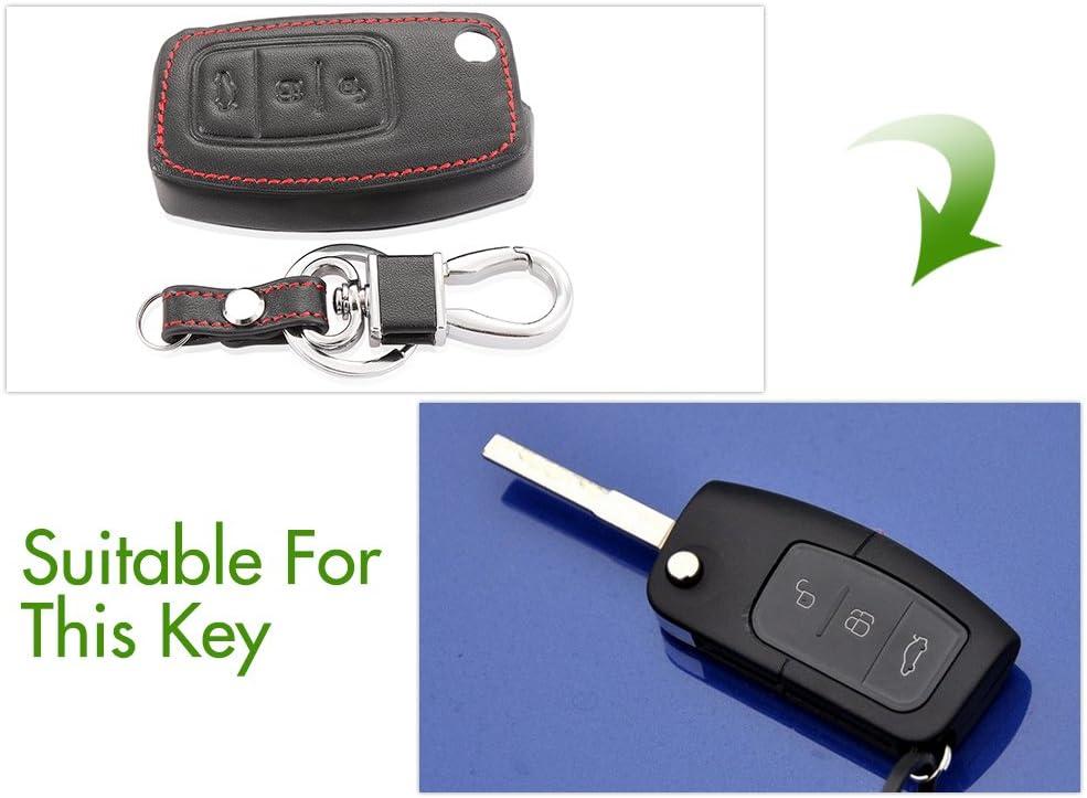 WOQUi Cover in Pelle Chiavi per Telecomando a 3 Tasti per Ford New Fiesta//Mondeo Chiave a Scatto a 3-Key