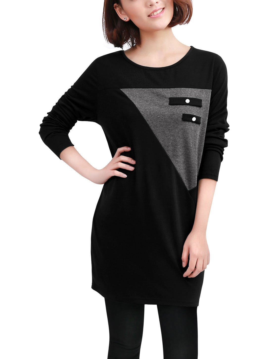 Allegra K Women's Contrast Color Loose Drop Shoulder Panel Tunic Top g12120800ux1146
