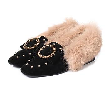 DANDANJIE Las Mujeres Mocasines Remache De Proa Zapatillas Bloquear Zapatos De Tacón De Las Señoras Slip En Mocasines Casual Hebilla para Otoño Invierno: ...