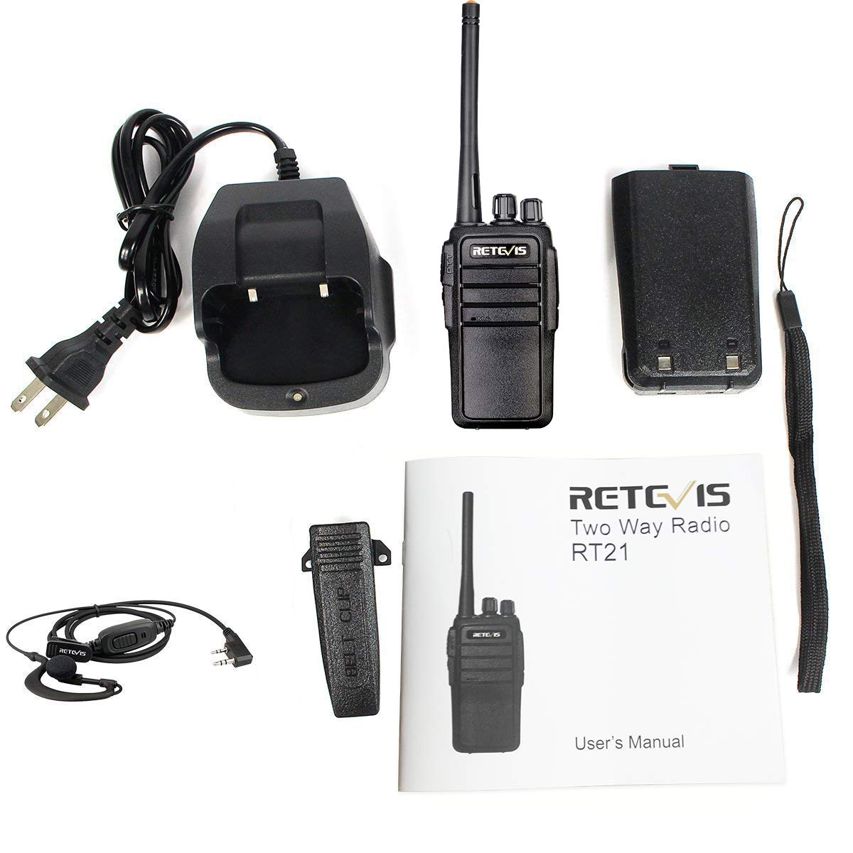 Retevis RT21 Walkie Talkies Updated 3000mAh FRS Radio 16CH UHF Two Way Radio Rechargeable VOX 2 Way Radios with Earpiece 4 Pack