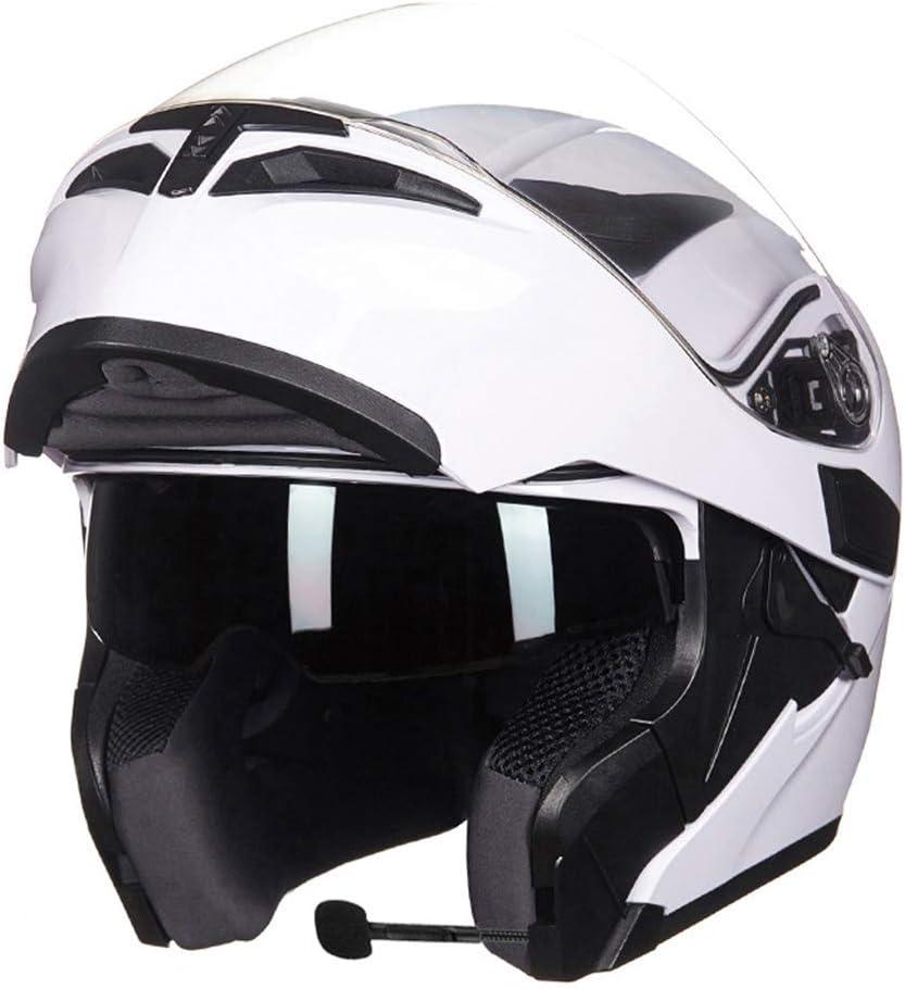 MTTK Casco de la Motocicleta Bluetooth con intercomunicador Moto Funcional Flip up Casco con Lente Doble Anti-Niebla