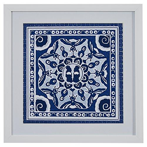 (Boho Blue and White Print, White Frame, 22