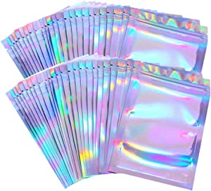 100 Pieces Resealable Smell Proof Bags Foil Pouch Bag Flat Ziplock Bag for Party Favor Food Storage (Holographic Color, 5 x 7 Inch and 8 x 10 Inch)
