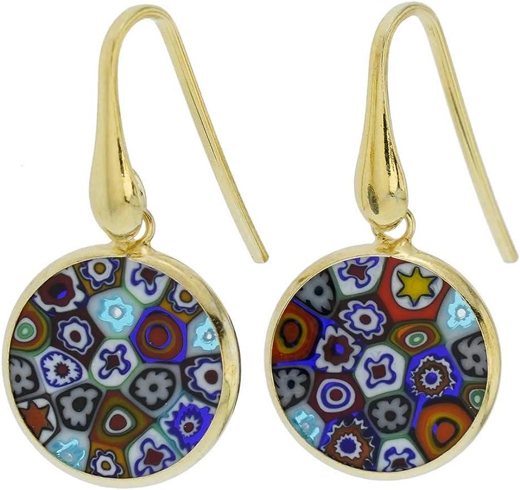 glassofvenice cristal de Murano Millefiori redondo Dangle Pendientes–Oro