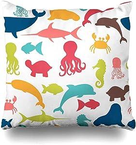 Throw Pillow Cover Crab Blue Whale Underwater Fishes Octopus Sea Shark Aqua Aquarium Aquatic Beach Design Summer Home Pillow Case Square Size 18 x 18 Inches Zippered Decor Pillowcase