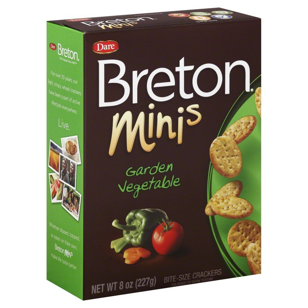 Breton Crackers Minis Garden Vegetable 8 Ounces (Case of 12)