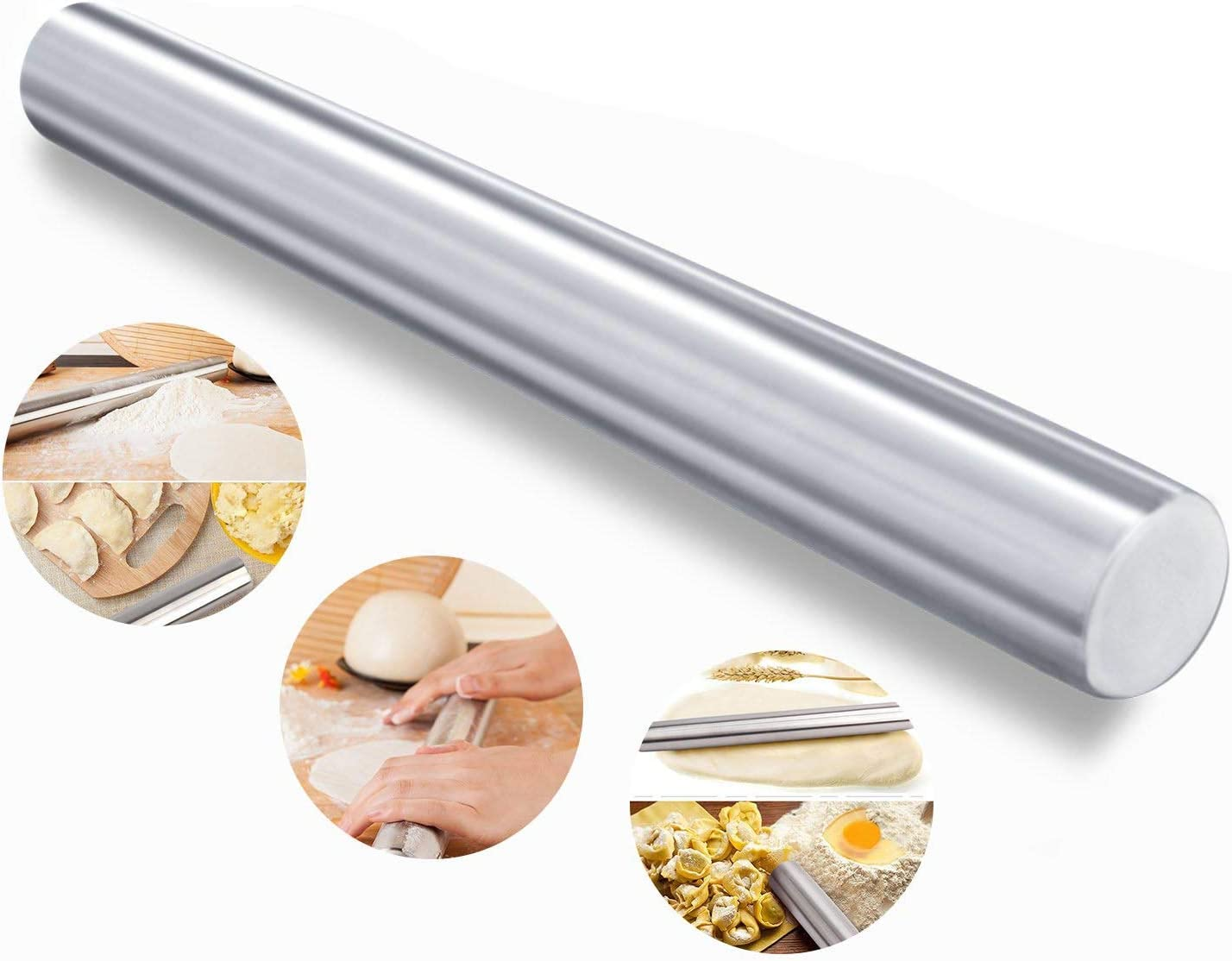 Zeerkeer rodillo de acero inoxidable antiadherente Rolling Pin Longitud 39 cm para preparación de pan, tartas, galletas, pasta fresca, pasta espátula