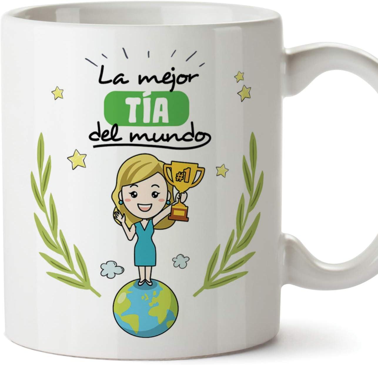 MUGFFINS Tazas Tía - La Mejor Tía del Mundo -Taza Desayuno Original/Idea Regalo Cumpleaños. Cerámica 350 mL