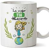 MUGFFINS Tía Tazas Originales de café y Desayuno para Regalar a Tías - La Mejor Tía del Mundo - Cerámica 350 ml