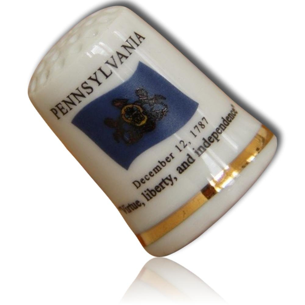 Custom & Collectible {25mm Hgt. x 19mm Dia.} 1 Single, Mid-Size Sewing Thimble Made of Fine-Grade Porcelain Glass w/ Pennsylvania State Flag ''Virtue Liberty And '' Dec 12 1787 {White, Gold & Blue} by mySimple Products