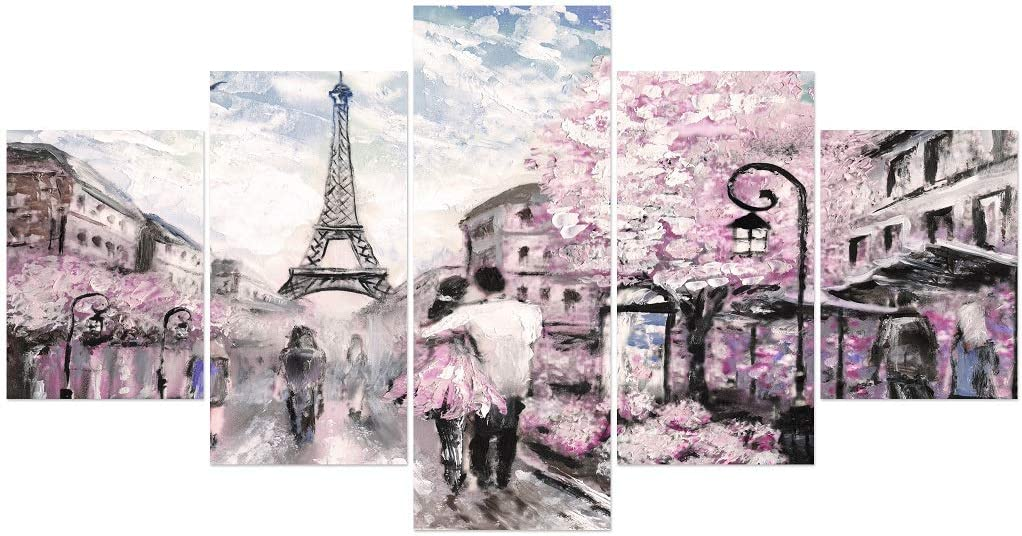 Romantic Paris Wall Decor for Bedroom Unframed Canvas Painting Wall Art for Living Room