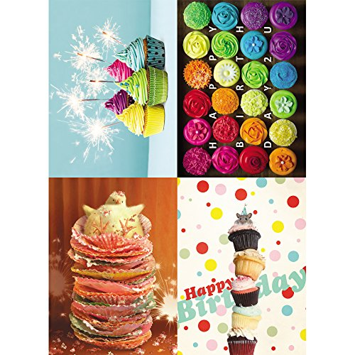 Tree-Free Greetings Birthday Treats Card Assortment, 5 x 7 Inches, 8 Cards and Envelopes per Set (GA31568)