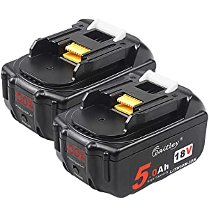 TenMore 18V 5Ah BL1850b Replacement Battery with LED Indicator Compatible with Makita 18V BL1830B BL1860B BL1820 LXT-400,2-Pack