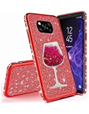 Miagon for Xiaomi POCO X3 NFC Glitter Case,Creative Flowing Sand Wine Cup Design Bling Diamond Soft Gel TPU Silicone Electroplating Protective Bling Case Cover