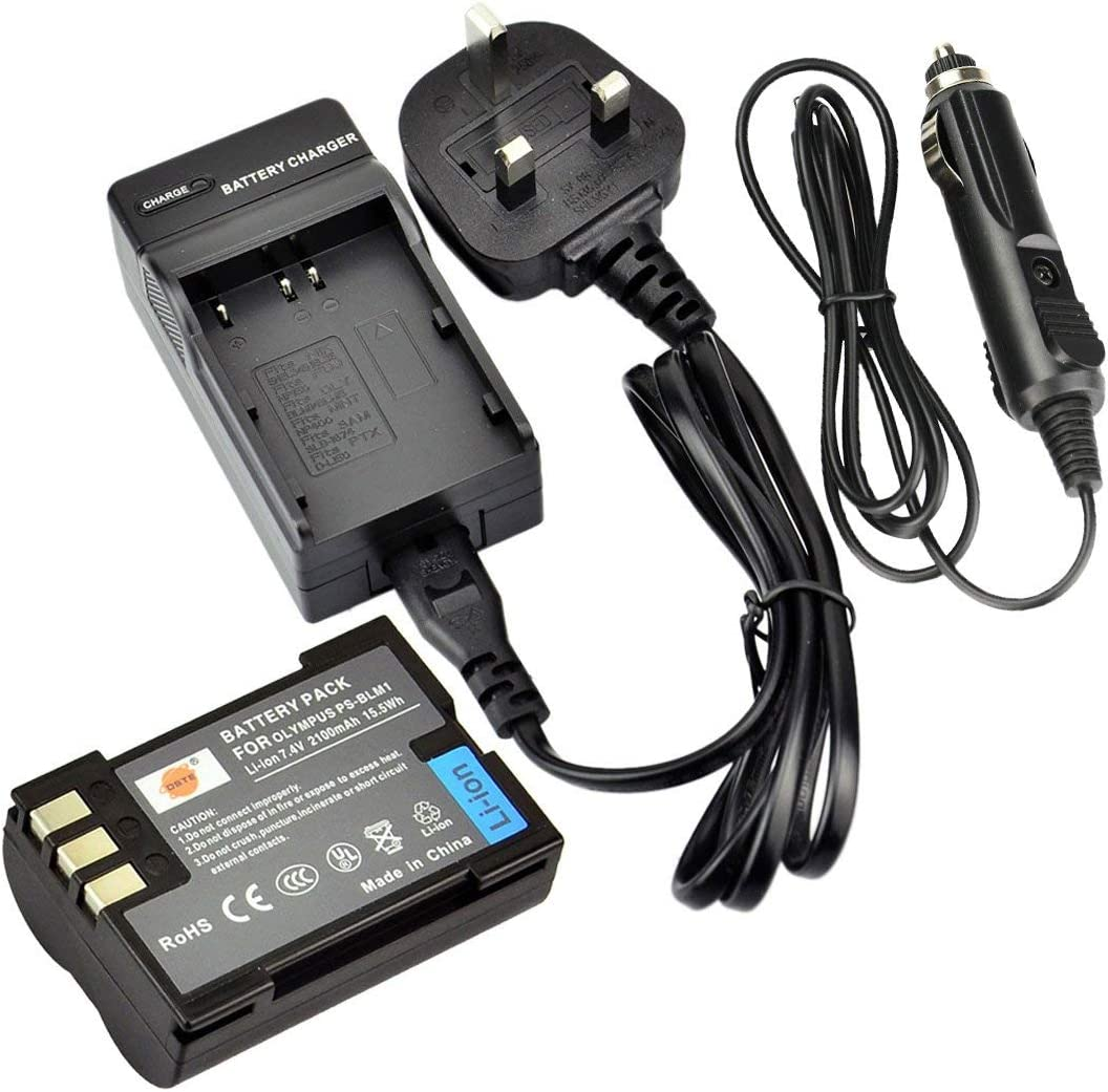 DSTE/® BLM-1 Rechargeable Li-ion Battery DC11U Travel and Car Charger Adapter for Olympus C-5060 C-7070 C-8080 E-1 E-3 E-30 E-520 EVOLT E-300 EVOLT E-330 EVOLT E-500 EVOLT E-510 Digital Camera