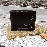 Mens Bi-Fold Leather Wallet Monogrammed - Wallets for Men - Groomsmen - Husband - Father - Grandfather- Leather (666)