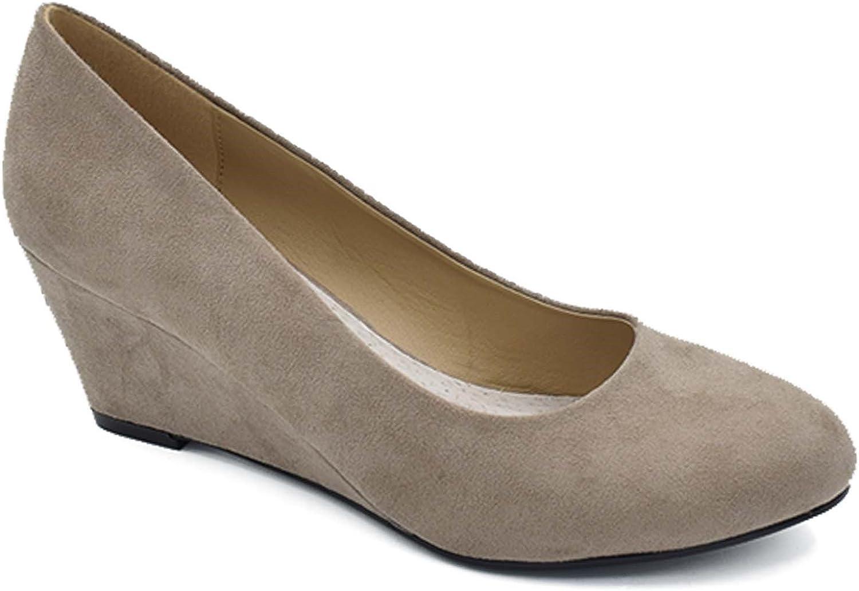 TALLA 41 EU. Greatonu Zapatos de Cuña Media Nuevos Clásicos sin Cordones y Hebillas para Mujer