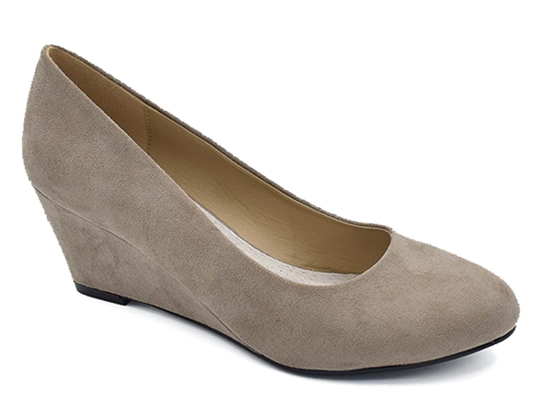 Greatonu Zapatos de Cuña Media Nuevos Clásicos sin Cordones y Hebillas para Mujer