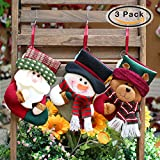 CMiko Classical Christmas Stockings, 3 Pack Super Cute Socks Hanging in Xmas Tree Home Restaurant Hotel Decorations and Party Supplies, Burlap Stuffed Toys Candy Gift Bag Holders for Kids