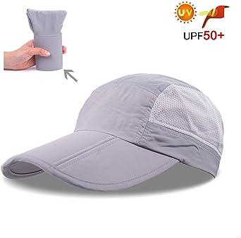 Folding Running Man Hat,Visors Sport Cap Summer Mesh Quick-Drying Hat Breathable Waterproof Trucker Hat Women Baseball Cap Hiking with 3.54in Brim 19-24in Adjustable Unisex Hat 63g Light Gray EI76