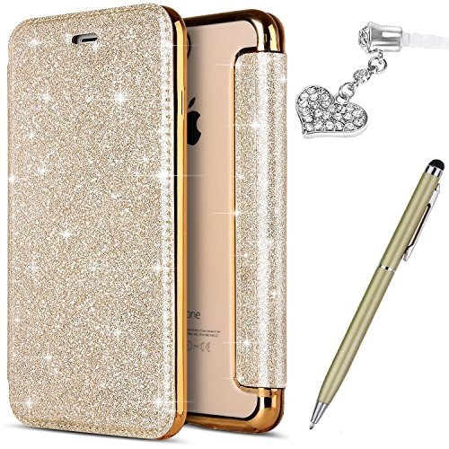 iPhone 5S Case,iPhone 5 Case,iPhone SE Case,ikasus Crystal Shiny Glitter Plating TPU PU Leather Flip Wallet Pouch Bookstyle Cover & Card Slots Protective Case Cover +Touch Pen Dust Plug,Gold