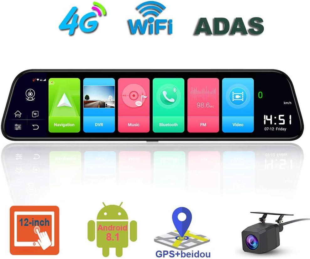 ShiZhen D50 12 inch Full Screen 4G Touch IPS Car Dash Cam Rear View Android 8.1 Mirror with WiFi GPS Navi Bluetooth Music Dual Lens FHD 1080P