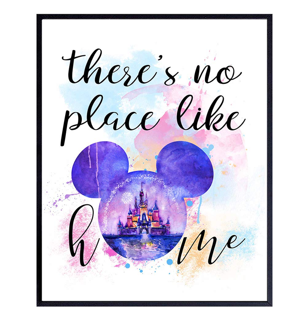 Mickey Mouse Ears Wall Art, Home Decor - Walt Disney Poster, Print - Unique Cinderella Castle Room Decorations and Great Gift for Disney World, Disneyland Fans - 8x10 Photo Unframed