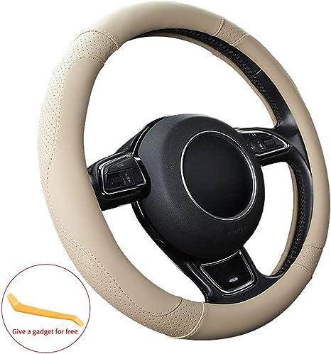 Sfonia Auto Lenkrad Abdeckung Lenkradschutz Lenkradhülle Mikrofaser Leder Universal 37 38cm 15 Rutschfest Atmungsaktiv Langlebig Beige Auto