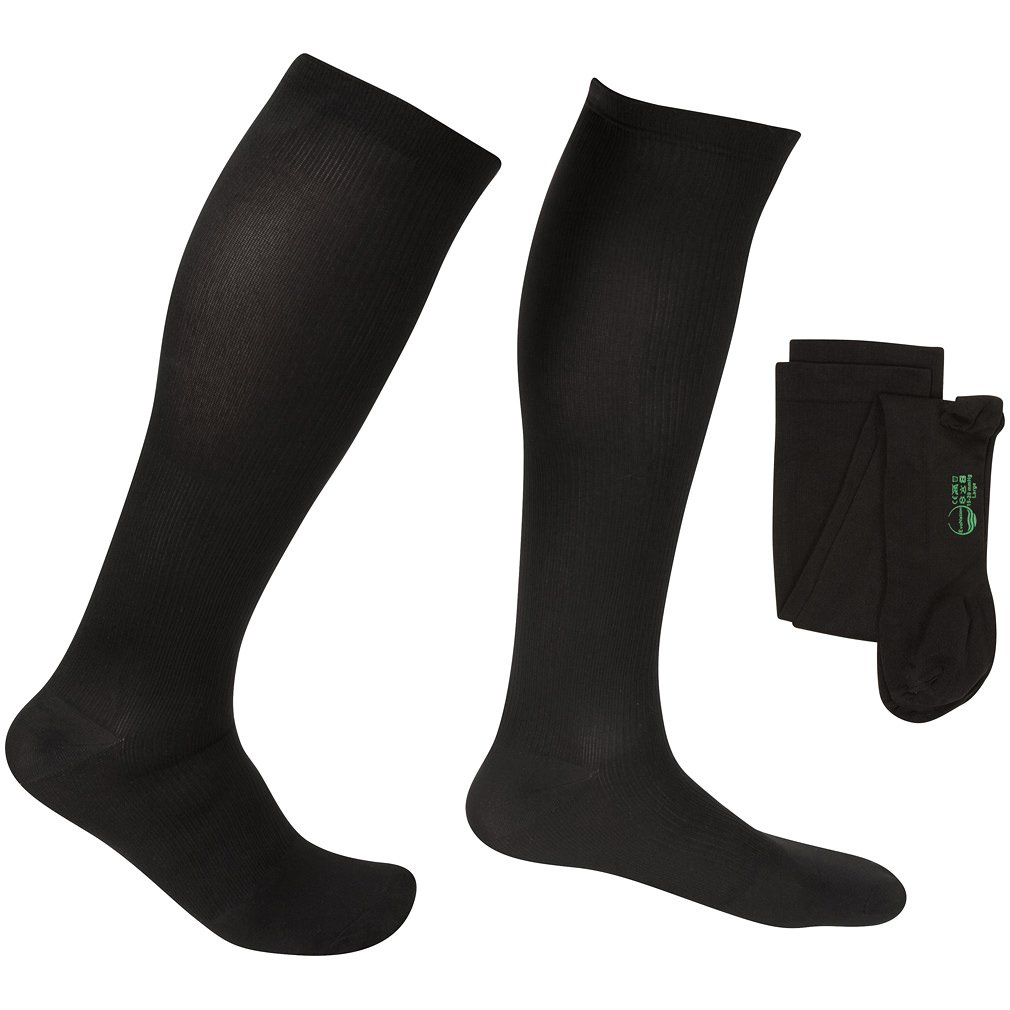 EvoNation Men's USA Made Graduated Compression Socks 15-20 mmHg Moderate Pressure Medical Quality Knee High Orthopedic Support Stockings Hose - Best Comfort Fit, Circulation, Travel (XL, Black)