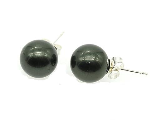 Ohrring 925 Silber Ohrstecker 3 Stempel Muschelkernperlen Perlen Schmuck schwarz