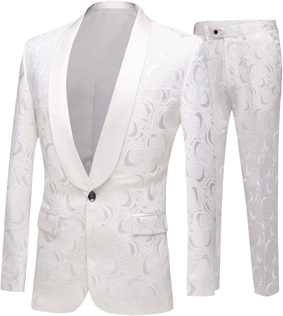 White Shawl Lapel Floral Men's Suits 2 Pc One Button Groom Tuxedos Wedding Suits for Men