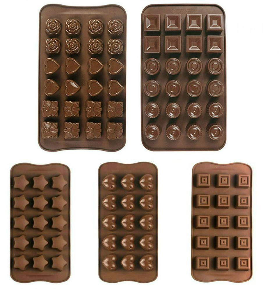 Chocolate Silicon Molds, set of 5 Different Chocolate Molds, DIY Cake Soap Ice Cream Candy Jelly molds