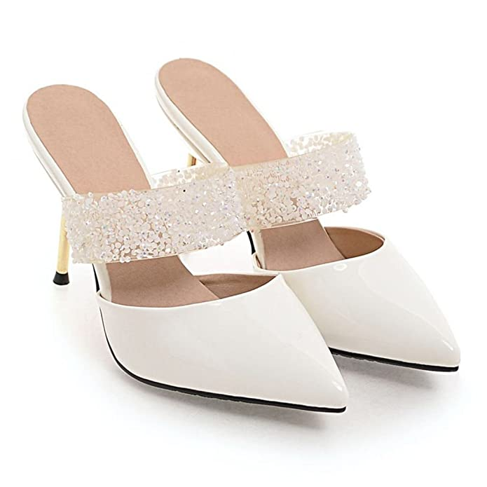Womens Summer Patent Leather Pointed Toe Stiletto Heel Rhinestone Sandals Fashion Slippers Kaloosh ox6dKCD6