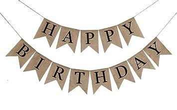 Amazon.com: Banderines rústicos de arpillera para cumpleaños ...
