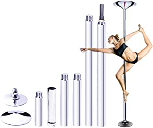 "RAYLON Spinning and Static Dancing Pole, 45mm Diameter Portable Stripper Pole, 89""-115"" Adjustable Height, Fitness Exercise Dance Tube for Home Pub Party Gym"