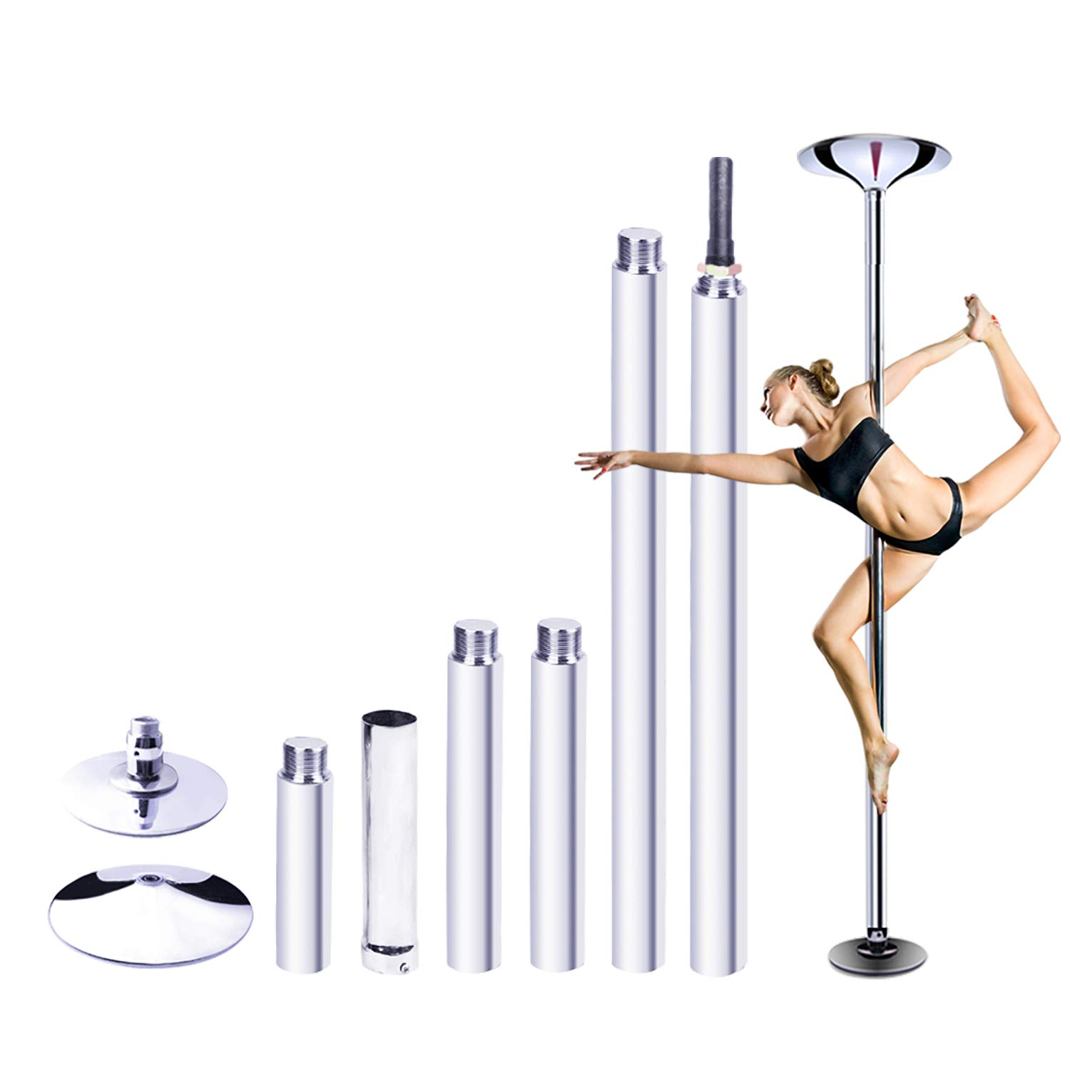 """RAYLON Spinning and Static Dancing Pole, 45mm Diameter Portable Stripper Pole, 89""""-115"""" Adjustable Height, Fitness Exercise Dance Tube for Home Pub Party Gym"""