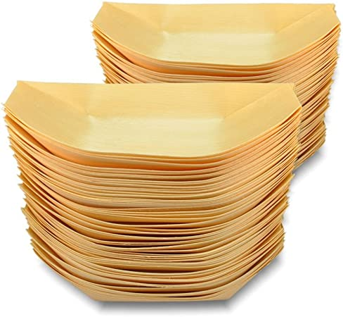 Disposable Bamboo Plate Set 50Pcs Wooden Boats Serving Boards Party Food Snacks
